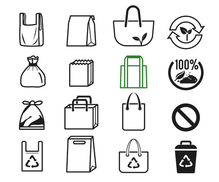 Shopper used different bag series collection for shopping in supermarket. Idea of people for Eco-life. The solution to reduce global warming. Çizim