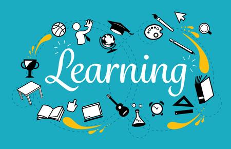 Allgemeines Lernen. Themen in der Studie mit Technologie. Kreativität unendlich. Standard-Bild - 85325750