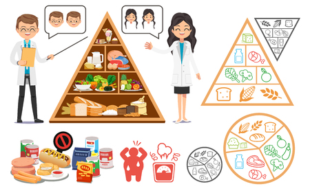 Allocating time in health care to keep the body healthy.Learning easy eating good nutrition guide. Medical science and food.