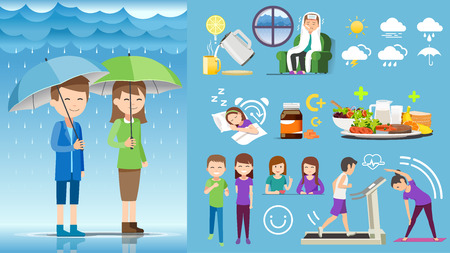Taking Health care during rainy season yourself. Element animation for infographic work. Happy activity.