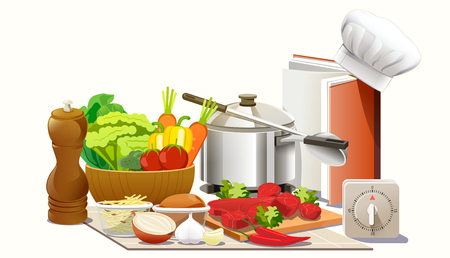 Kookexperimenten in de keuken. Open een creatief kookboek om een ??chef-kok te zijn. Maak nieuwe gerechten. Stock Illustratie
