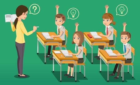 集中教室教育概念。教師は、学生を教育します。一般的な学校。学習からのアイデアを作成します。興味のあるレッスンです。
