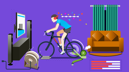 Modern Home exercise concept. Trainer bike stand at the house in 1985 graphic trend concept.