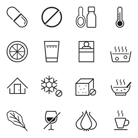 colds: Care and prevention of colds icon concept. Basic self-care. Illustration