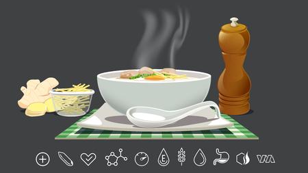 Reismehl zur Linderung von Erkältungen. Stärkung des Körpers mit nahrhaften Lebensmitteln und Therapie. Standard-Bild - 85326440