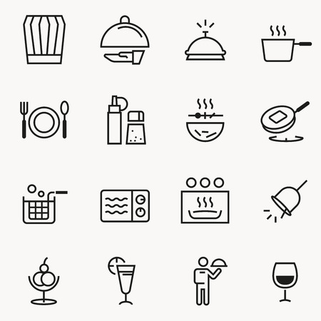 Basic Small restaurant icon concept slim style. Cooking for sale and service Illustration