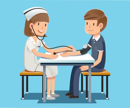 毎年恒例の健康チェック。様々 な疾患の治療に務める看護師。深刻な治療。病院は大変ではありません。  イラスト・ベクター素材