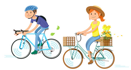 Cycling for eco. Travel form that reduces energy consumption. People who are interested in global warming problem.