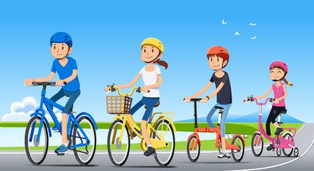 一緒に家族の休日の旅行。人と良好な関係。自転車でエコツー リズム。国立公園。自転車のコンセプト。  イラスト・ベクター素材