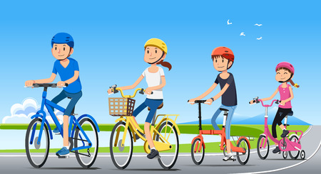 Traveling with family holiday together. Good relationship with people. Ecotourism by bicycle. National park. Bike concept. Illustration