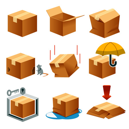 Paper box for logistics isometric view concept set 1. Element mapping transportation. Standard Delivery Process. Storage of goods.