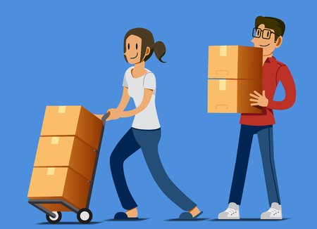 Setting up a new store of their own. Small Business your self. Moving goods to the store. Storage for sale. The beginning of being a merchant. Illustration