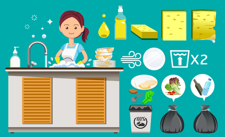 Principles of cleaning the restaurant after eating. Waste sorting. Maid washing dishes and bowls clean. Work with ease. Household product.
