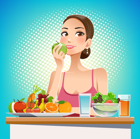 Eat for beauty. Eating for weight control. Caring for the body shape effectively. Food friendly. Pop cartoon graphic style.