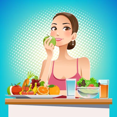 Mangia per la bellezza. Mangiare per il controllo del peso. Prendersi cura della forma del corpo in modo efficace. Cibo amichevole. Stile grafico di fumetto pop.