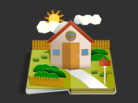Home Paper cut pop up design concept. Living with happy family in home. Storytelling by book. Basic House idea. Illustration