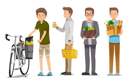 Man shopping the supermarket in relaxation. Reducing energy consumption with a eco-bag. A People save the world concept. Pay attention to health by eating vegetables.