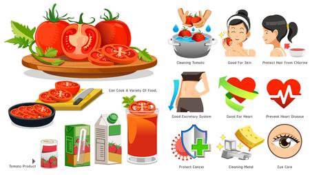 The benefits of tomato in medicine. Illustration