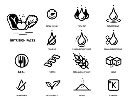 Nutrition facts icon concept. Symbols of nutrients are common in food products collection. Çizim