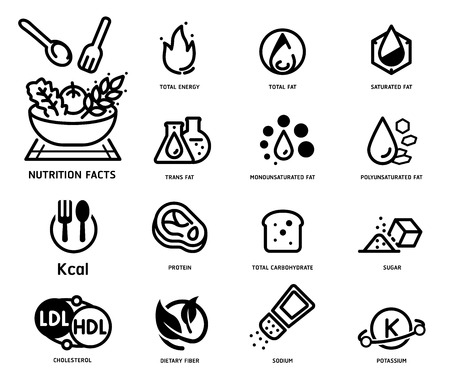Nutrition facts with Food Science style icon concept. 向量圖像