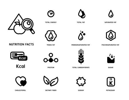 Nutrition facts icon concept minimal style. Flat line symbols of nutrients are common in food products collection. Vectores