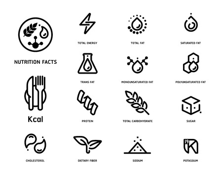 Set of nutrition facts icon concept in clean minimal style illustration. Stock Illustratie
