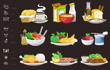 Meals of people who should eat in a day helps to grow. Ideas for creating a nutritional description for daily food and consumer research and thin icon.