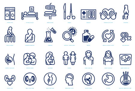 Various agencies within the hospital icon set. Symbols of medical organization. Each type of doctor.