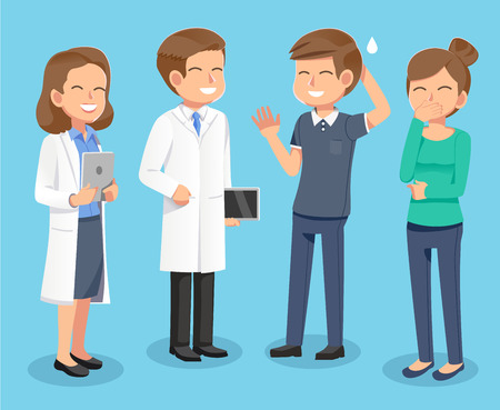 Medical cheerfully consultation . Patients consult with a happy doctor. Basic step to the diagnosis on hospital. People Go to hospital not worry.