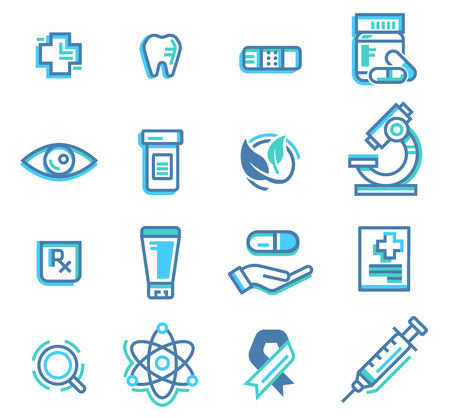 Basic icon clinic office or hospital in slim line color of medicine concept. Introduction General treatment types of medications and medicinal properties set.