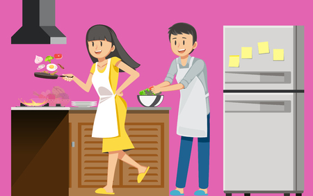 First cooking fun, happiness of love. Couples are preparing food in their daily lives cheerfully. Good teamwork within the family. Illustration
