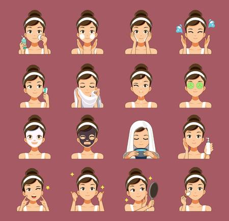 Processus de nettoyage du visage. Des soins de la peau adaptés à l'adolescent. Banque d'images - 102363295