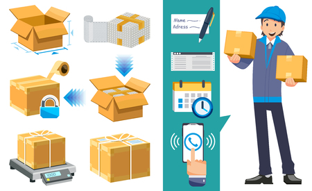 Basic proper packaging step. Home Delivery service of goods to the property. safety step package parcel.