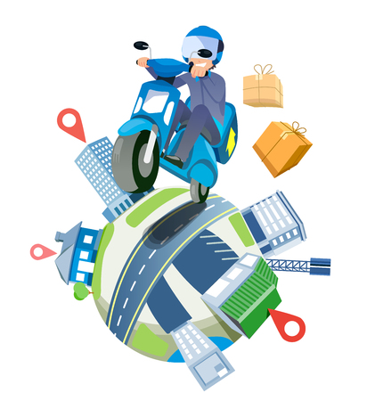Delivery a parcel service by speedy motorcycles nationwide. shipping around the world concept. Иллюстрация