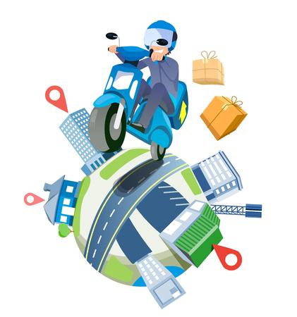 Lieferung eines Paketservices mit schnellen Motorrädern im ganzen Land. Versand um die Welt Konzept.