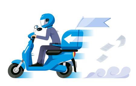 Concept de service de livraison ultra-rapide. Le personnel de la moto a un envoi rapide.