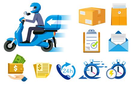 Concepto e icono de servicio de velocidad express de motocicletas. Entrega todo rápido. Paquete de pago con el personal.