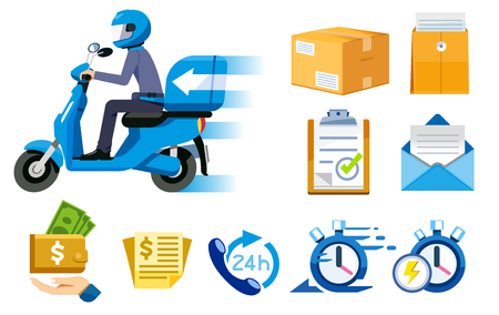 Motorcycle express speed service concept and icon. Delivery quickly everything. Payment parcel with staff. 矢量图像