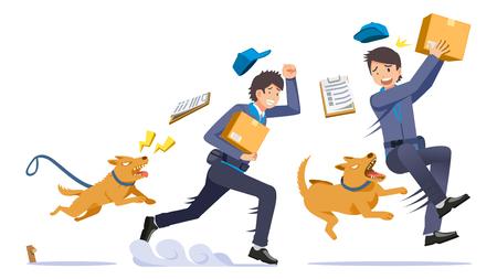 El peligro de ser repartidor. problema de las mascotas en los hogares que muerden a extraños en algún momento. Ilustración de vector