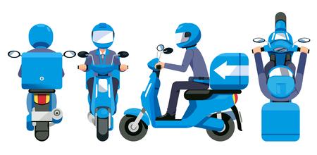 Entrega todo concepto de servicio. El personal de motocicletas tiene una vista estándar de envío rápido. Ilustración de vector