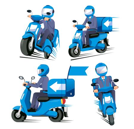 Entrega todo el concepto de servicio de velocidad. El personal de la motocicleta tiene una vista variada de envío rápido.