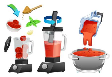 Verbetering van de smaak van tomatensaus voordat u deze in de glazen fles bereidt. zelfgemaakt concept. Vector Illustratie