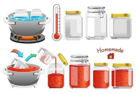 Empacar salsa de tomate en una botella de vidrio mientras está caliente. Fácil conservación de alimentos. Productos del procesamiento de tomates cultivados en finca de buena calidad. concepto casero. Ilustración de vector