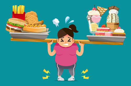 The food that is not useful causes a penalty. People unhealthy body from eating junk food. Physical problems of obesity.