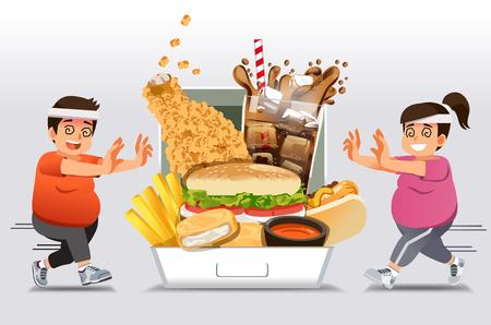 Bariery ćwiczeń dla tych, którzy są zaznajomieni z jedzeniem fast foodów, chcą schudnąć. Ludzie rezygnują z diety lub ćwiczeń i szczęśliwie wracają do fast foodów. jak tłuszcz. Ilustracje wektorowe