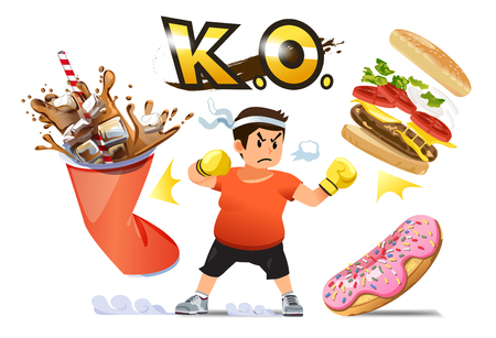 Man overcoming the desire to eat junk food.Fight for weight loss. Winning your mind for a good shape. win A fast food in game concept.