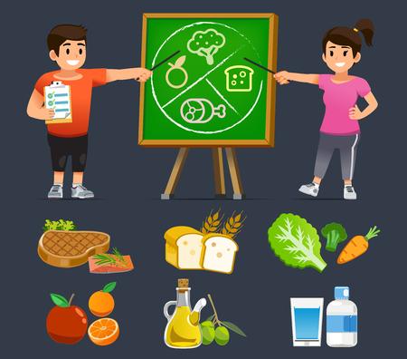 Ludzie uczący się łatwego jedzenia dobrego poradnika żywieniowego. Przeznaczenie czasu na opiekę zdrowotną, aby utrzymać organizm w zdrowiu z dala od otyłości.