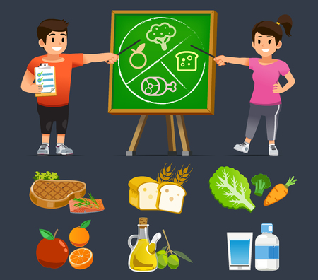 People Learning guía de buena nutrición para comer fácilmente. Asignar tiempo en el cuidado de la salud para mantener el cuerpo sano lejos de la obesidad.