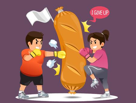 Ludzie przezwyciężający chęć jedzenia fast foodów, walka o utratę wagi. Zdobycie umysłu dla dobrej formy. wygrać Fast food w zabawnej koncepcji.