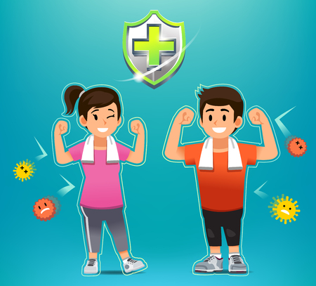 Disease prevention by exercise for people. Strong body to far from germs. happy young life.